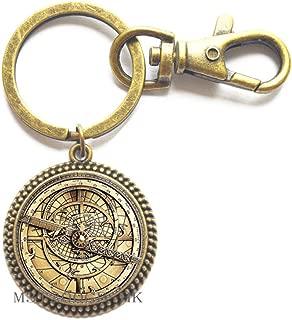 Steampunk Mysteries Wheel Keychain Glass Mens Astrolabe Women Best Friends Key Ring-MT256 (W2)