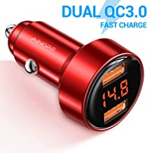 AINOPE Fast Car Charger, Dual QC3.0 Port 6A/36W USB Car Charger Quick Charge All Metal Voltage Display Car Charger Adapter Compatible with iPhone 11/11 pro/XR/X/XS/8, Samsung Note 8/S9/S10+/S8 - Red
