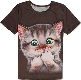 猫Tシャツ メンズ 3Dプリント 猫ちゃん 大ブーム Fortan新出品 ねこ シャツ 薄手 ポリエステル ショート丈 半袖 夏服 可愛い プリント 猫柄 JP限定版