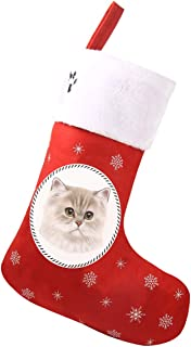 Red Lovely Pets Pattern Christmas Stockings for Cats
