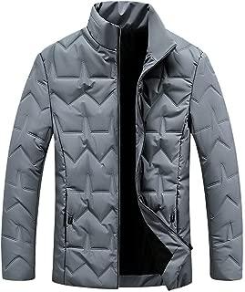 AKAIDE Mens Down Jackets Winter Warm Casual Portable Light Coat Long Sleeve Zipper Coats Round Collar Tops Packable Jacket Outwear for Men Sport Running Street