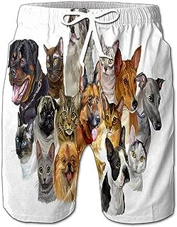 Colorful Portraits Dogs Rottweiler Australian Shepherd Pug Greyhound German Shepher Drawstring Shorts Beach Baskestball Pants