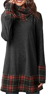 Women Long Tunic Tops Plaid Splice Pullover Sweatshirt Cowl Neck Loose Blouse