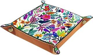 BestIdeas Panier de rangement carré 16 × 16 cm, avec motif floral vif sans couture, boîte de rangement sur table pour la m...