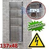 Scaldasalviette CORTINA elettrico CROMATO cm 137x48 con termostato