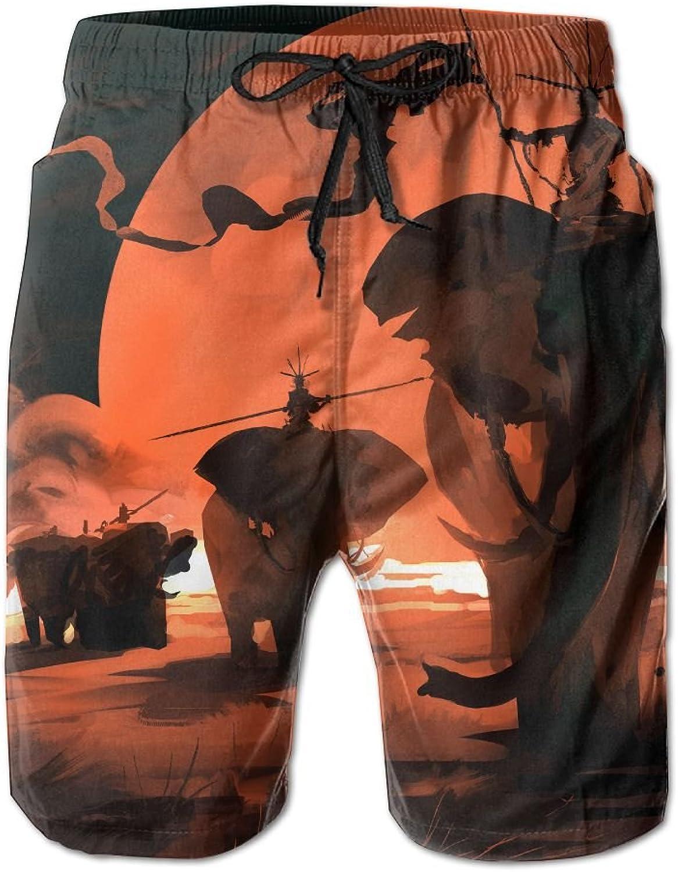 Mens Beach Shorts Red Sky Elephant Swim Trunks Board Cargo Summer Shorts Quick-drying