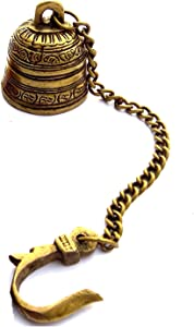 Crafthut Beautiful Brass Hanging Bell with Chain for Temple, Door, Hallway, Porch Or Balcony (Length of Chain is 15 inches)