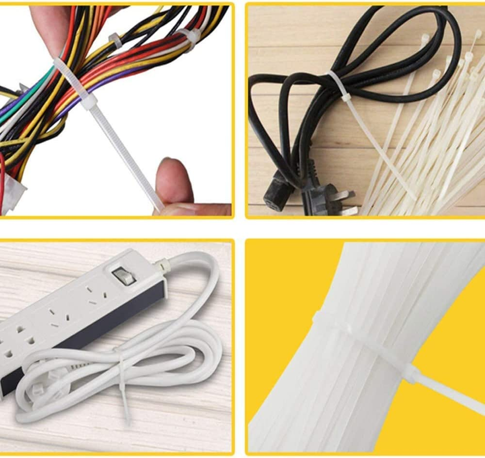 100 Count YIBIDINAY Cable Zip Nylon Heavy Duty Self Locking Wire Ties White 100 Pack 4 inch