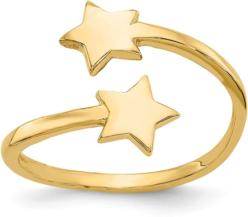 Solid 14k Yellow Gold Star Toe Ring Adjustable