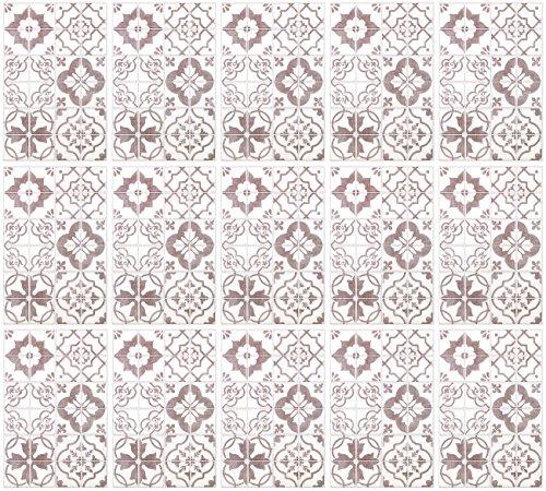 infactory Fliesen Designfolie: Selbstklebende 3D-Bordüre-Fliesenaufkleber, grau, 30 x 20 cm, 15er-Set (Kunststoff Mosaik-Wandfliesen)