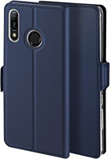Libra_J Case for Huawei Y6 2019 Case, [Stand Function] [Card Slot] [Magnet] [Anti-Slip] Premium Leather Flip Case Cover for Huawei Y6 2019 Case (Blue)