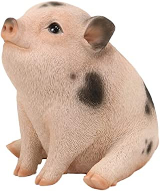 """Ebros Adorable Realistic Animal Farm Napoleon Fat Piglet Pig Statue 6"""" Long Rustic Country Piggy Pet Porcine Pigs with Glass"""