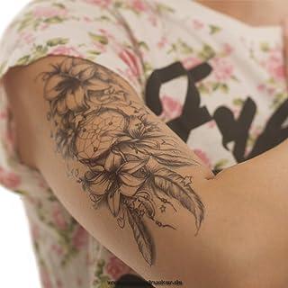 Dromenvanger met bloemen en sterren - zwarte XL tattoo - Body Temporary Fake Tattoo - TH484