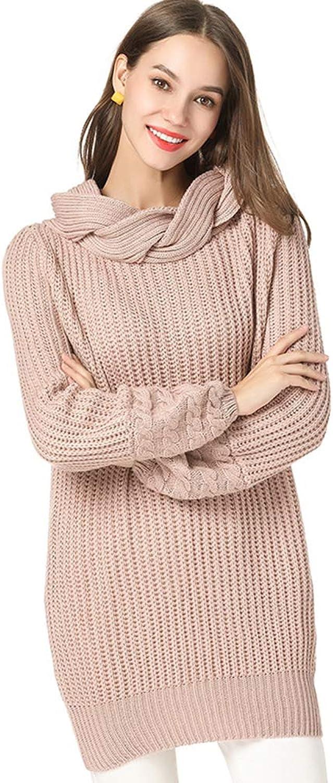 Women Sweater Asymmetric Cable Knit Mini Sweater Dress Jumper