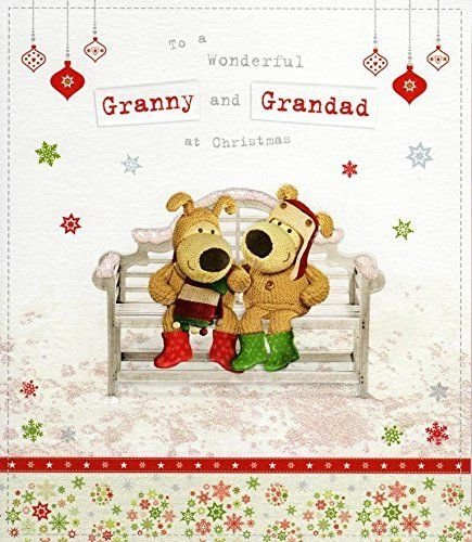Boofle Granny & Grandad Christmas Greeting Card Embellished Special Xmas Cards