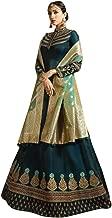 Blue Satin Silk Designer Royal Banarasi Silk Zari Dupatta Abaya Style Anarkali Salwar Suit Semi Stitched Indian 7548