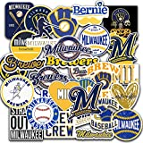 30 PCS Brewers Fanart Stickers Milwaukee Baseball Team Stickers for Water Bottle Laptop Aesthetic Skateboard Bumper Car Bike Stickers 2-2.5 inches