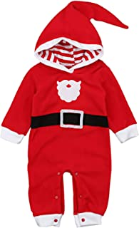 EGELEXY Toddler Baby Boys Christmas Santa Claus Costume Hooded Baby Romper Jumpsuit