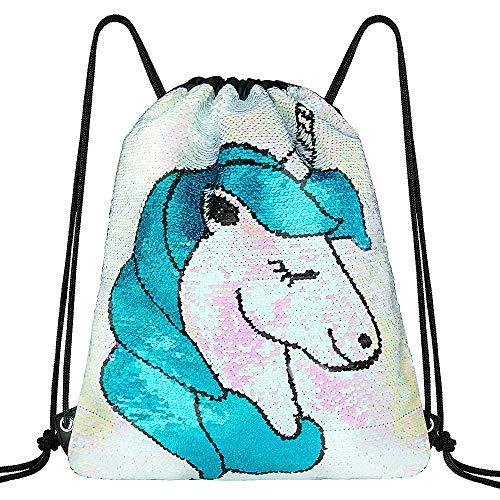 MOOKLIN ROAM Borsa Paillettes Reversibili Unicorno, Borsa Zaino Magia con Lacci Glittering, Borsa a Tracolla Palestra con Coulisse per Bambini Teens Festa di Compleanno Borsa Sacchetto Festa Mermaid