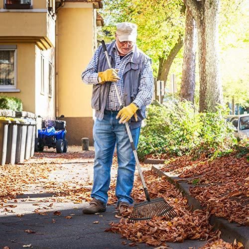 """Yangbaga 63"""" Garden Leaf Rake 38""""-63""""Adjustable Garden Rake,25 tines, Metal Rake for Quick Clean Up of Lawn and Yard"""