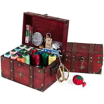 YFOZCOM Costurero Kit de Costura de Caja de Coser de Madera Maciza, Accesorios de Suministros de Costura, Kits de Costura para Bricolaje, Adultos, Principiantes, emergencias, campistas, Viajes, hogar: Amazon.es: Hogar