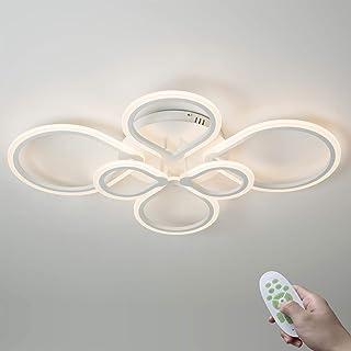 55W Moderno LED Lámpara de Techo Sala Regulable Dormitorio Luz de Techo con Mando a Distancia Blanco 6 Anillo Diseño Metal Acrílico Estudiar Comedor Interior Iluminación 3000K-6500K