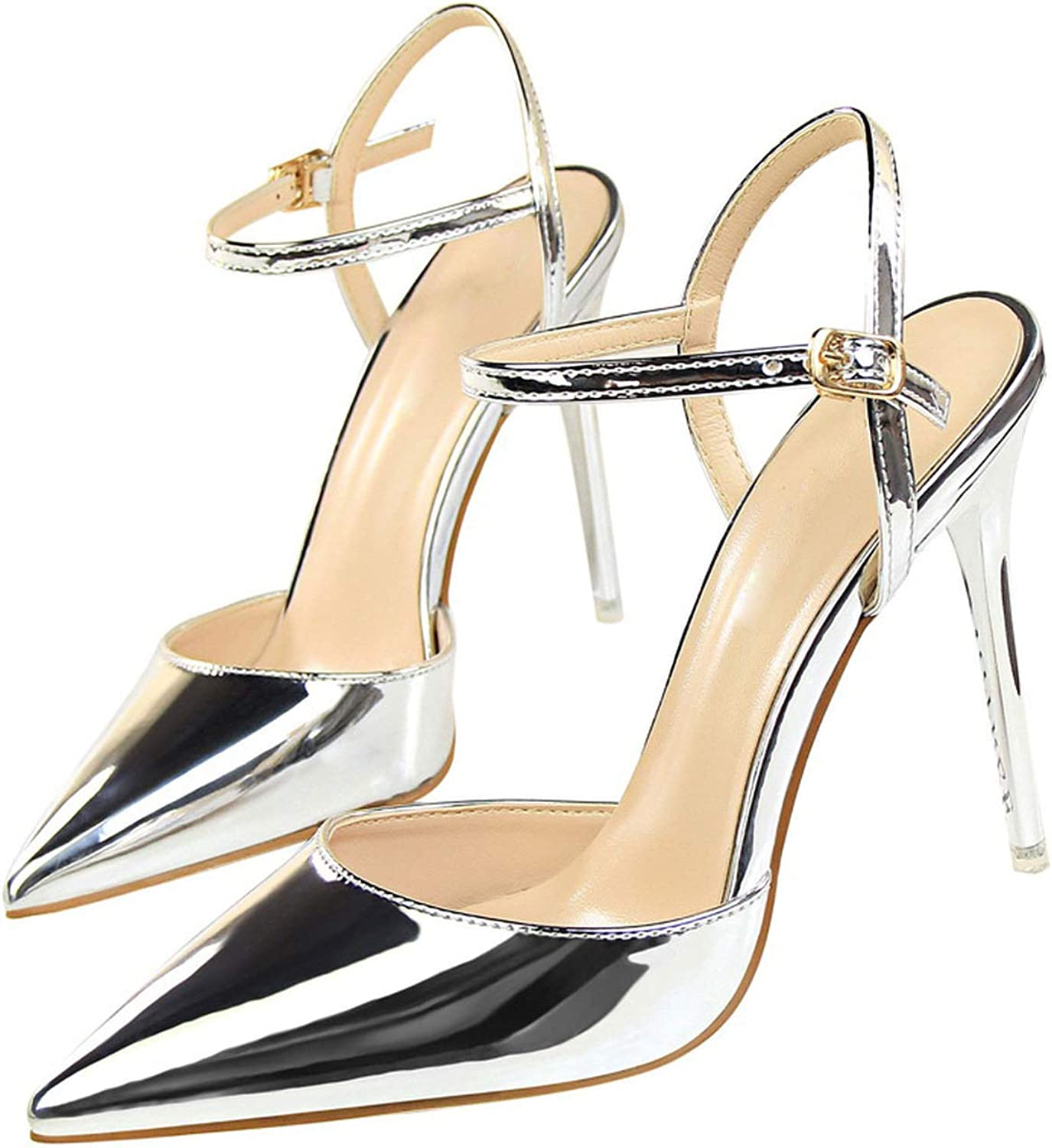 Yiwu Fuchen1 2019 Women Concise Fashion Ankle Strap shoes Pointed Toe Thin Buckle Slingbacks Pumps High Heels