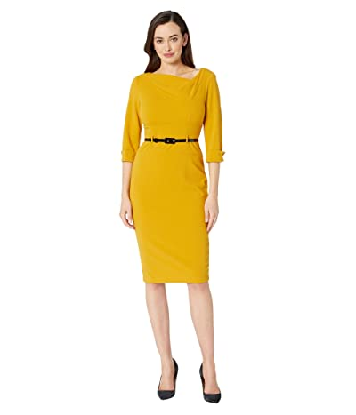 Donna Morgan 3/4 Sleeve Cowl Neck Crepe Midi Dress (Marigold) Women