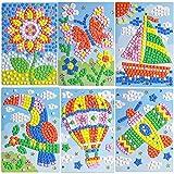 LZHZH Mosaic Sticker Art Sticky DIY Handmade Art Kits for Kids - Sunflower, Butterfly, Sailboat, Woodpecker, hot air Balloon, Airplane (6 Pack)
