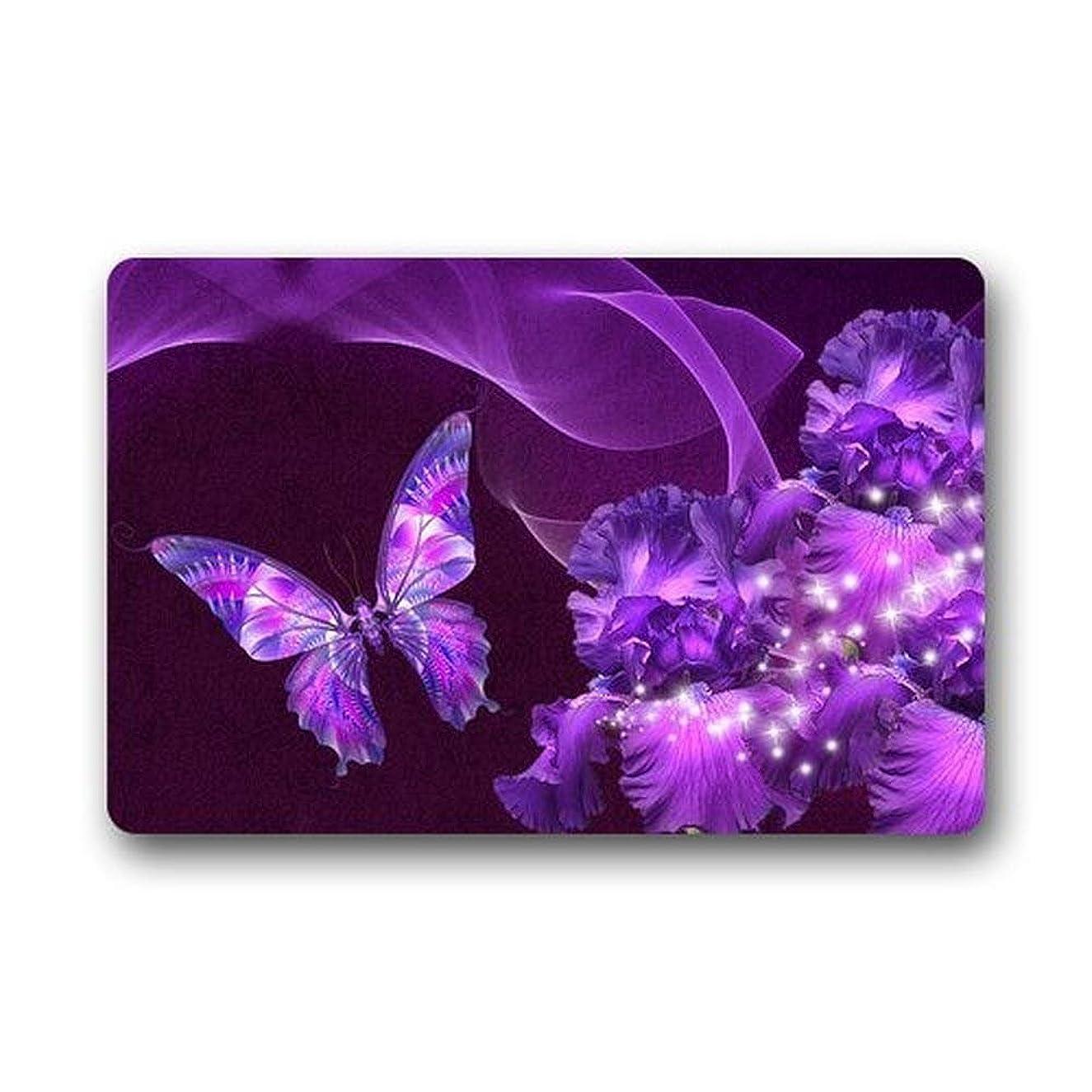 Door Mat Purple Butterfly and Flower Non Slip Outdoor Indoor Bathroom Kitchen Decor Rug Mat Welcome Doormat (L23.6