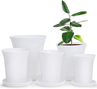 Plastic Planter, 6.4/5.2/4.5/4.1/3.6 Inch Flower Pot Indoor Modern Decorative Plastic Pots for Plants with Drainage Hole a...