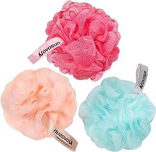 Esponja de baño Loofah, puf de ducha exfoliante para el cuerpo, esponjas de baño con doble malla, para mujeres y hombres (...