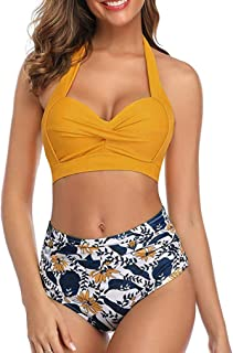 iHAZA Women Bathing Suit Floral Swim Bottoms Padded Halter Bandage Bikini Two Piece Swimsuits