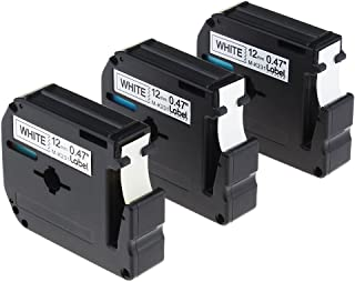 Replace M231 MK231 M-K231 M-231 1/2 Inch M Label Tape, Black on White, Compatible with Brother P-Touch Label Maker PT-70BM, PT-M95, PT-90, PT-70, PT-65, 12mm (0.47 Inch) x 8m (26.2 Feet), 3-Pack