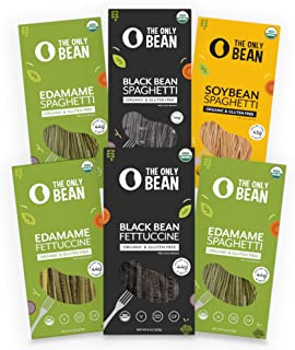 The Only Bean - Organic Edamame, Soy, Black Bean Spaghetti and Fettuccine Pasta, Gluten Free Noodles, 8oz (Variety Pack) (6 Pack)