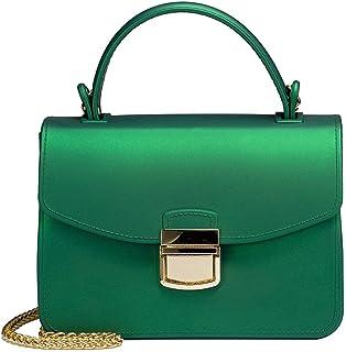 Sling Bag Fashion Women's Genuine Leather Handbag Jelly Crossbody Women Tote Handbags Women's Messenger Bag KAVU Bag (Color : Green)