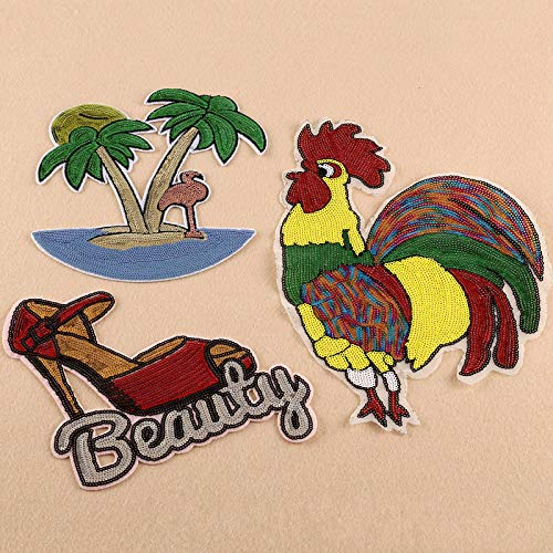 Iron on Patches/Sewing Patch,Patches for Clothes,Embroidery Applique,3pcs Sequins Cock high Heels Coconut Tree Suit
