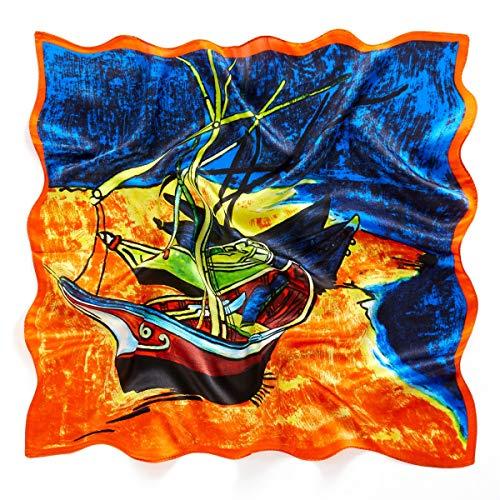 prettystern Bandana Seide Nickituch Halstuch Malerei Kunstdrucke van Gogh Boote Am Ufer Rot blau P253