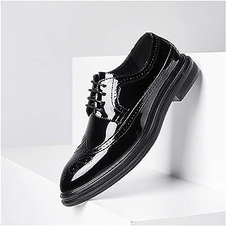 Zapatos casuales Zapatos de tela de Oxford para hombre, cuero vegano de patente W Diadema redonda, tacones robustos (Color...