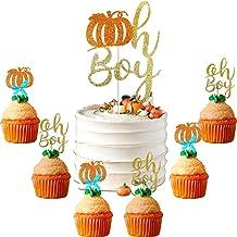 Fall Oh Boy Cake Topper Blue Pumpkin Cupcake Topper Autumn Baby Shower Gender Reveal Gold Glitter Thanksgiving Halloween P...