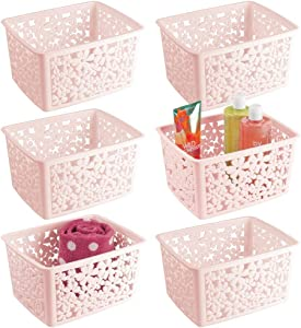 mDesign Plastic Bathroom Storage Basket Bin for Organizing Hand Soaps, Body Wash, Shampoos, Lotion, Conditioners, Hand Towels, Hair Accessories, Body Spray - Large, Floral Design, 6 Pack - Pink/Blush