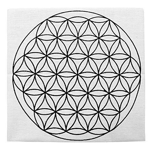 Jovivi 35 * 35cm-Tissu de Coton Crystal Grid Cloth Imprimé Fleur de Vie/Graine de Vie/Cube de Metatronpour Géométrie Sacrée Tissu d