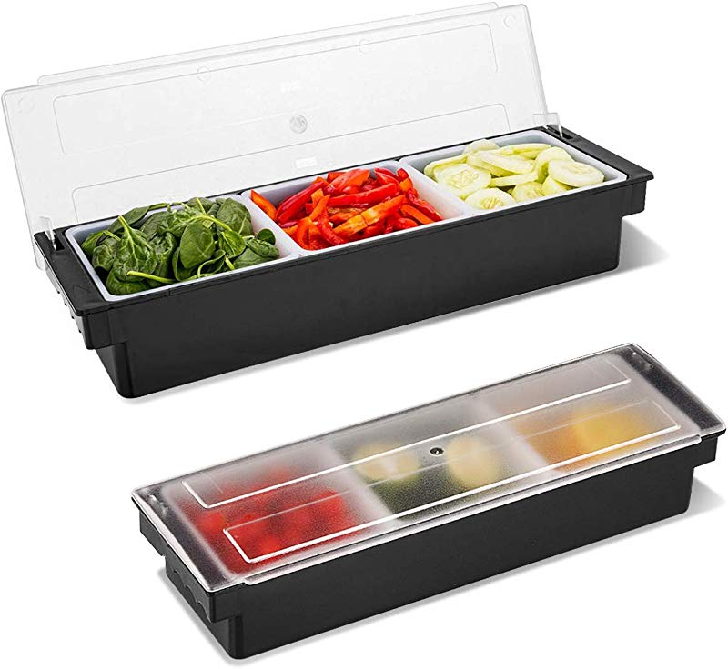 WICHEMI Ice Cooled Condiment Holder Dispenser Tray For Candy Dips Salad Toppings Serving Container Chilled Garnish Tray Bar Caddy For Home Work Or Restaurant 3 Compartment
