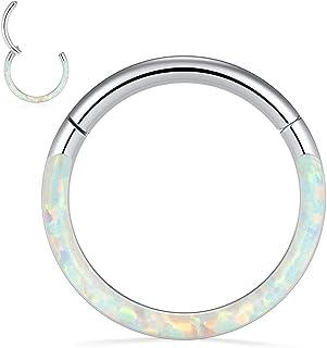 PEAKLINK 16G 18G 316L Stainless Steel CZ/Opal Septum Piercing Clicker Ring Hinged Nose Rings Hoop