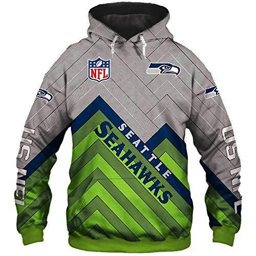 NFL American Football Seattle Seahawks Schnelltrocknendes T-Shirt Jersey Logo Reißverschluss-Sweatshirt Langarm Hoodies