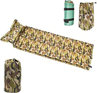 Self-Inflating Sleeping Pad with Attached Pillow, OPLON Compact Lightweight Foam Air Mattress is Ideal for Travel, Camping & Hiking, Backpacking, Cot,Tent & Sleeping Bag, Camouflage