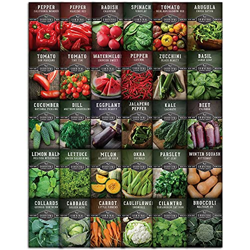 Survival Garden Seeds Home Garden Collection Vegetable Seed Vault - Non-GMO Heirloom Survival Garden Seeds for Planting - Waterproof Packaging for Long Term Storage - 30 Varieties of Vegetables
