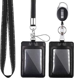 Mczcent 2 Porte Badge, Vertical Porte-Badges Cuir PU avec 1 Fenêtre D'identification, avec Courroie Lanière Tour de Cou Am...