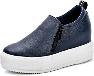 York Zhu Womens Fashion Wedges Sneakers Slip On Leather Platform High Top Mid Heel Casual Walking Shoes