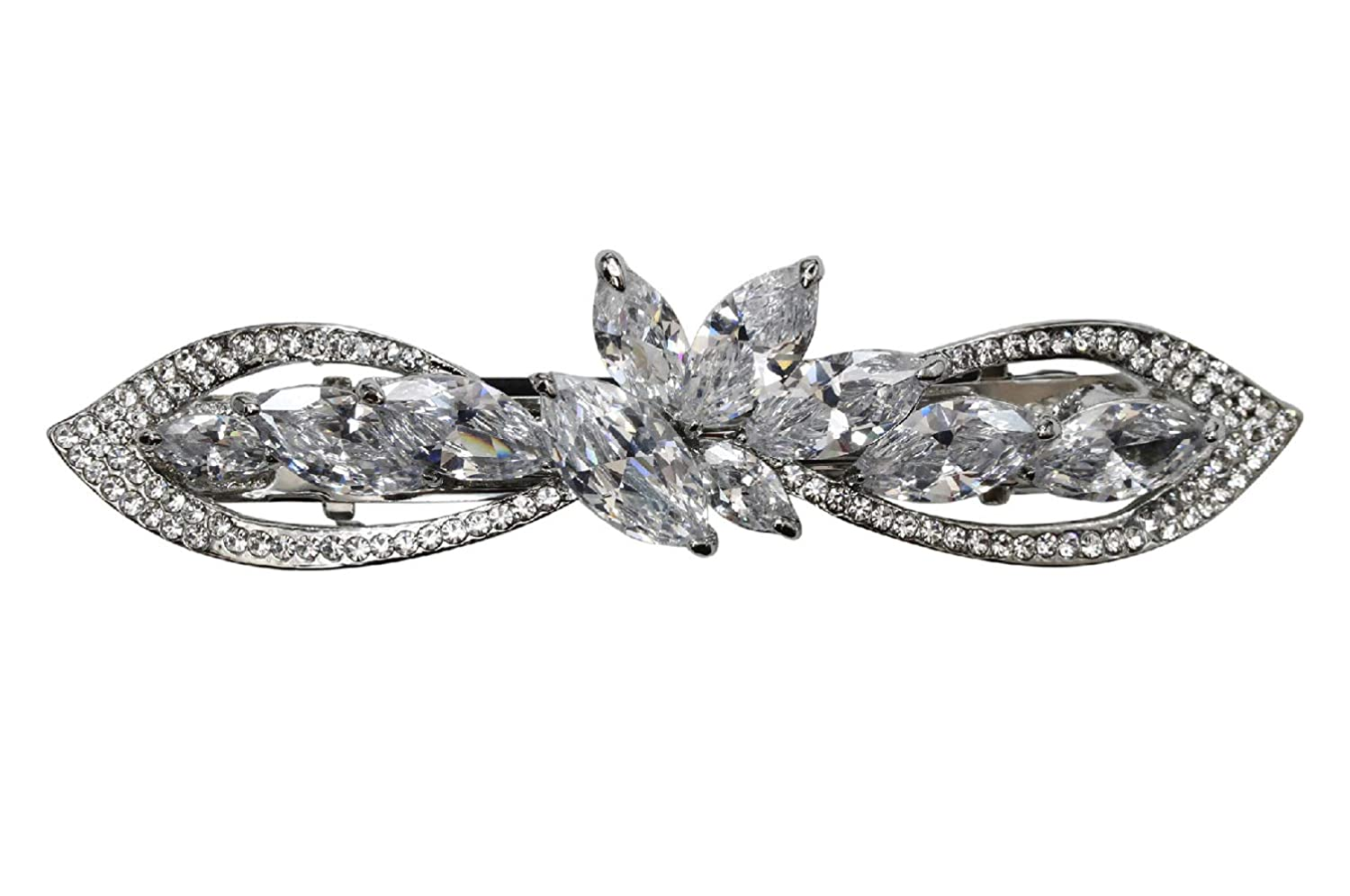 Outstanding Credence Faship Gorgeous Clear CZ Crystal Hair Barrette Clip Floral